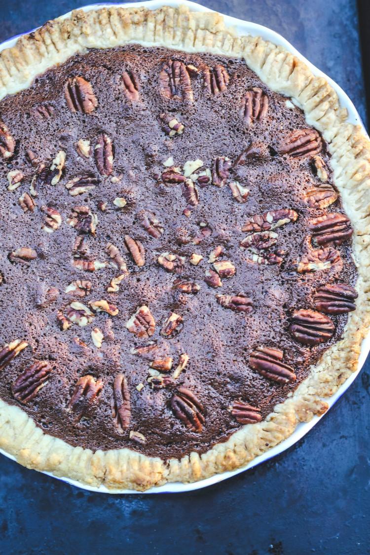 overhead image of chocolate espresso pecan pie
