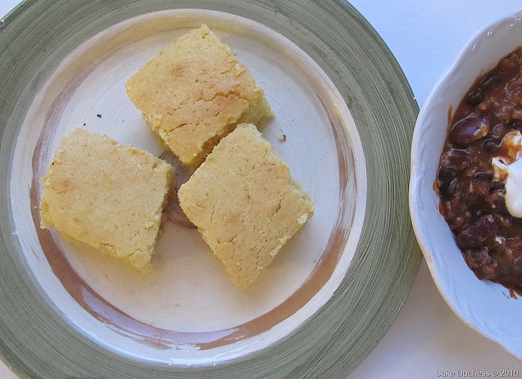 cornbread slices on a dish