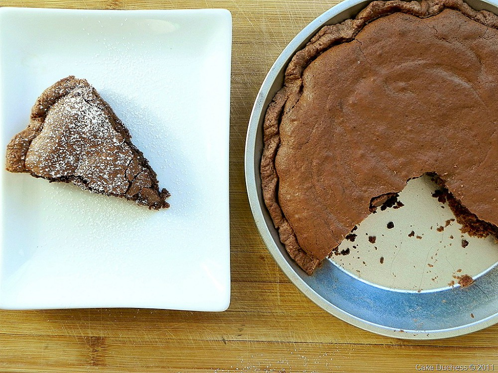 overhead image of decadent brownie yogurt pie