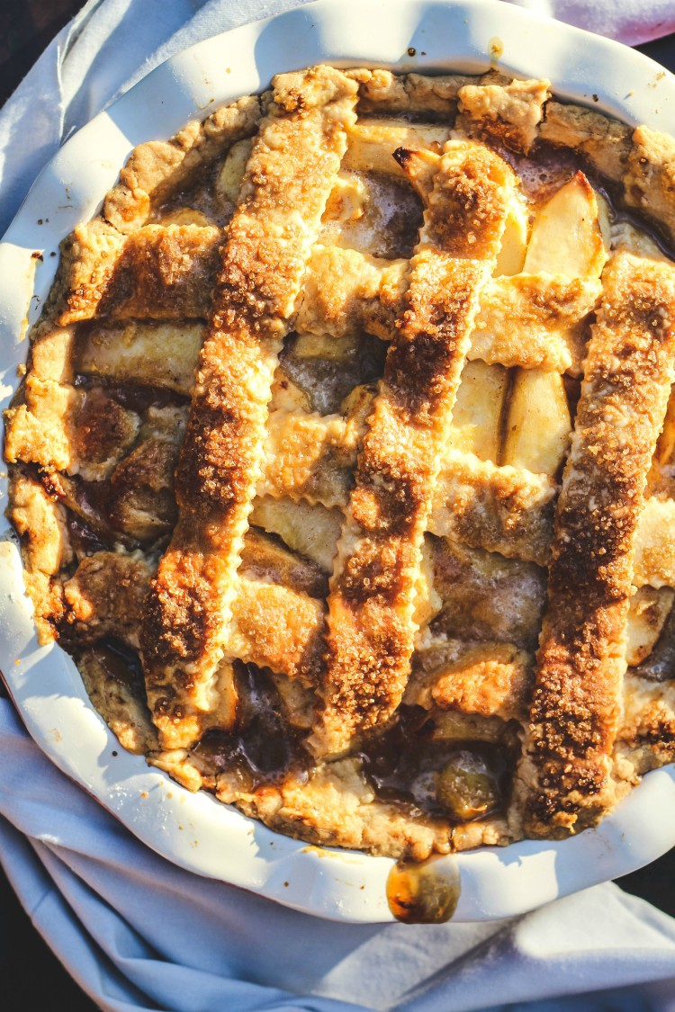 overhead image of salted caramel apple pie