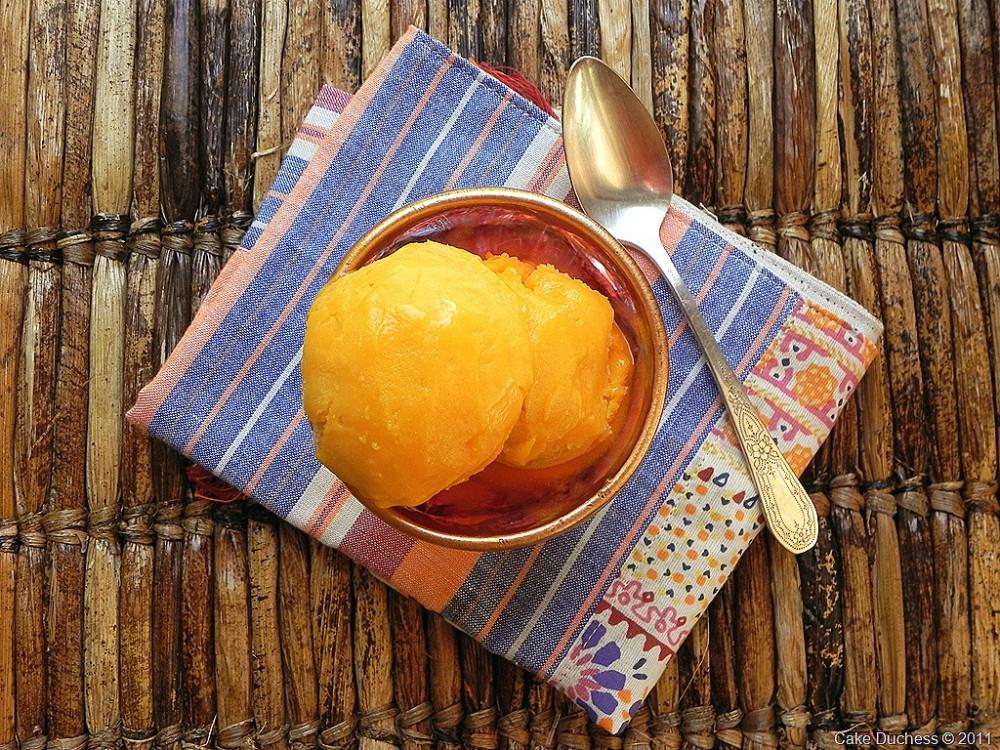 overhead image of mango sorbet