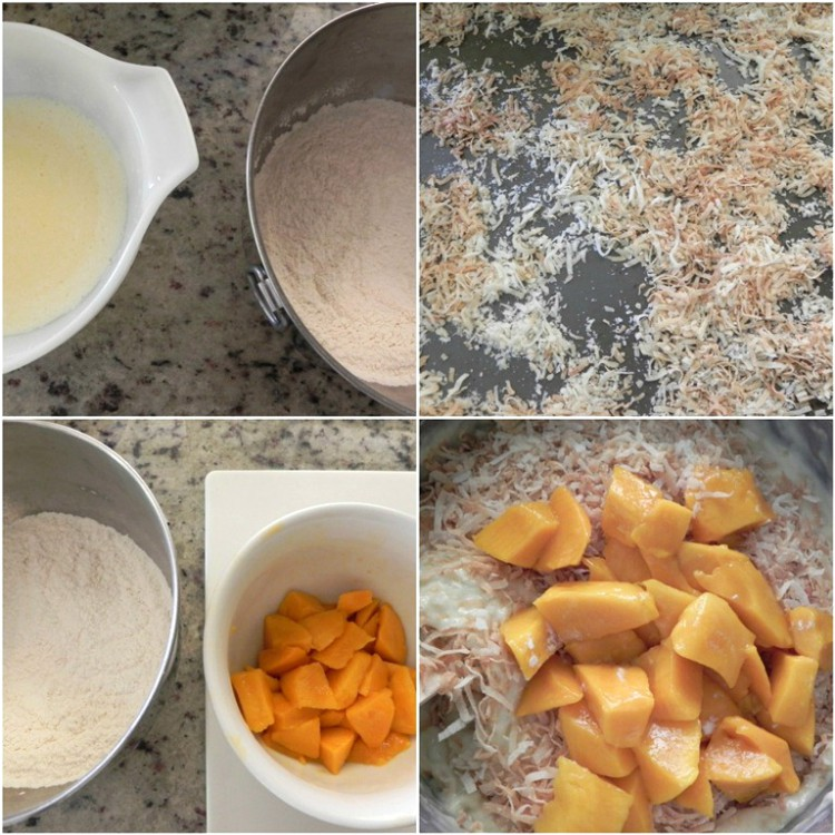 overhead image of making mango coconut bread