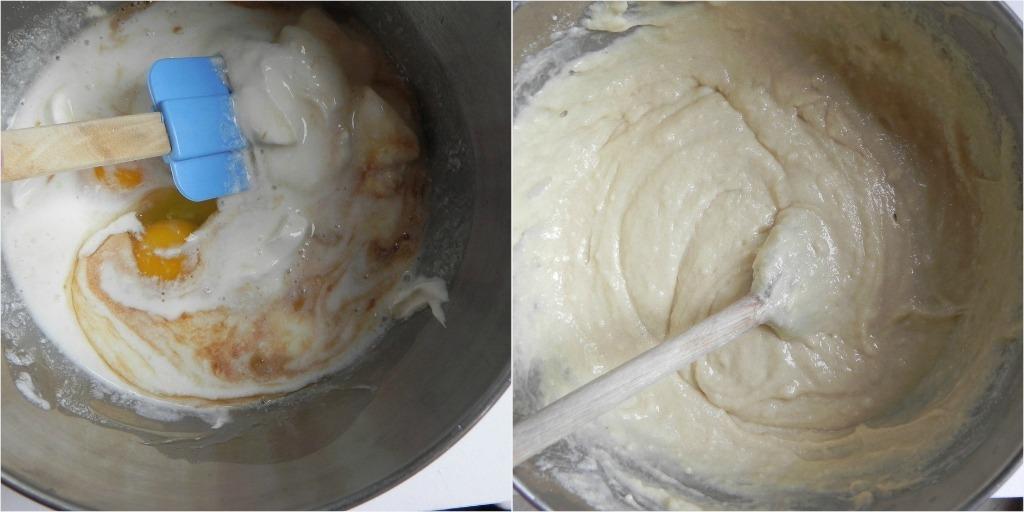overhead image of making skillet peach cobbler batter