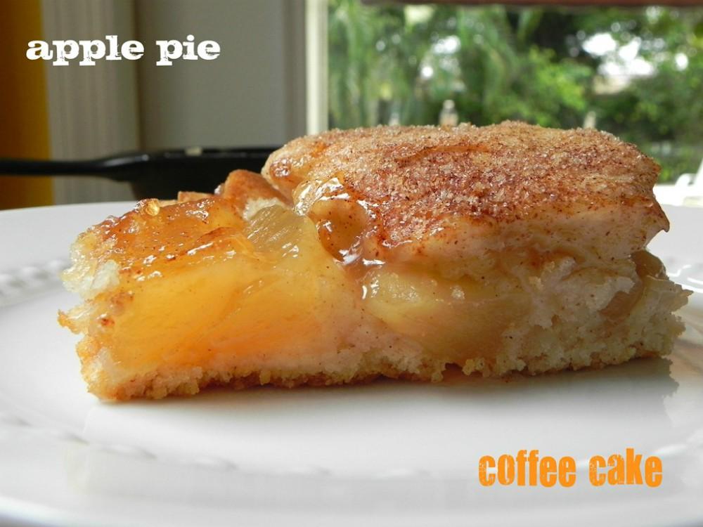 overhead image of apple pie coffee cake