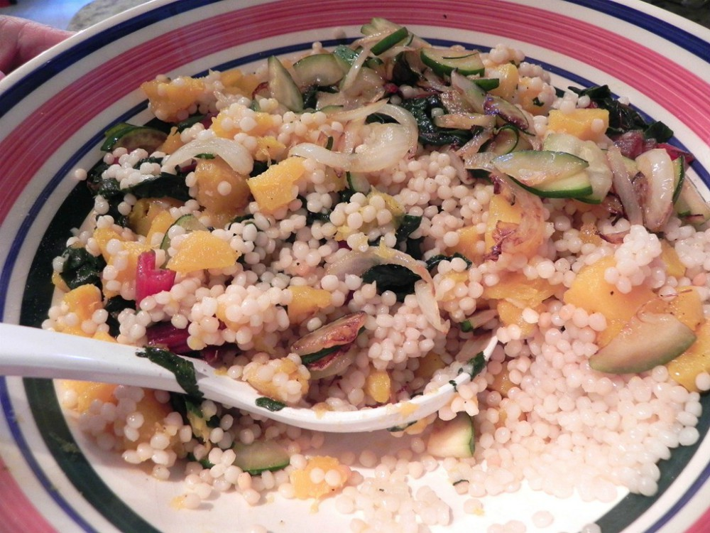 overhead image of cous cous salad