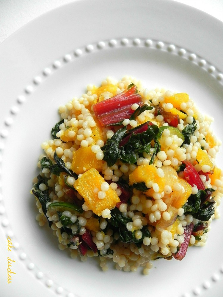overhead image of isreali couscous with butternut squash