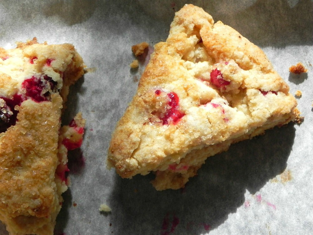 overhead image of clementine cranberry scones on parchment paper