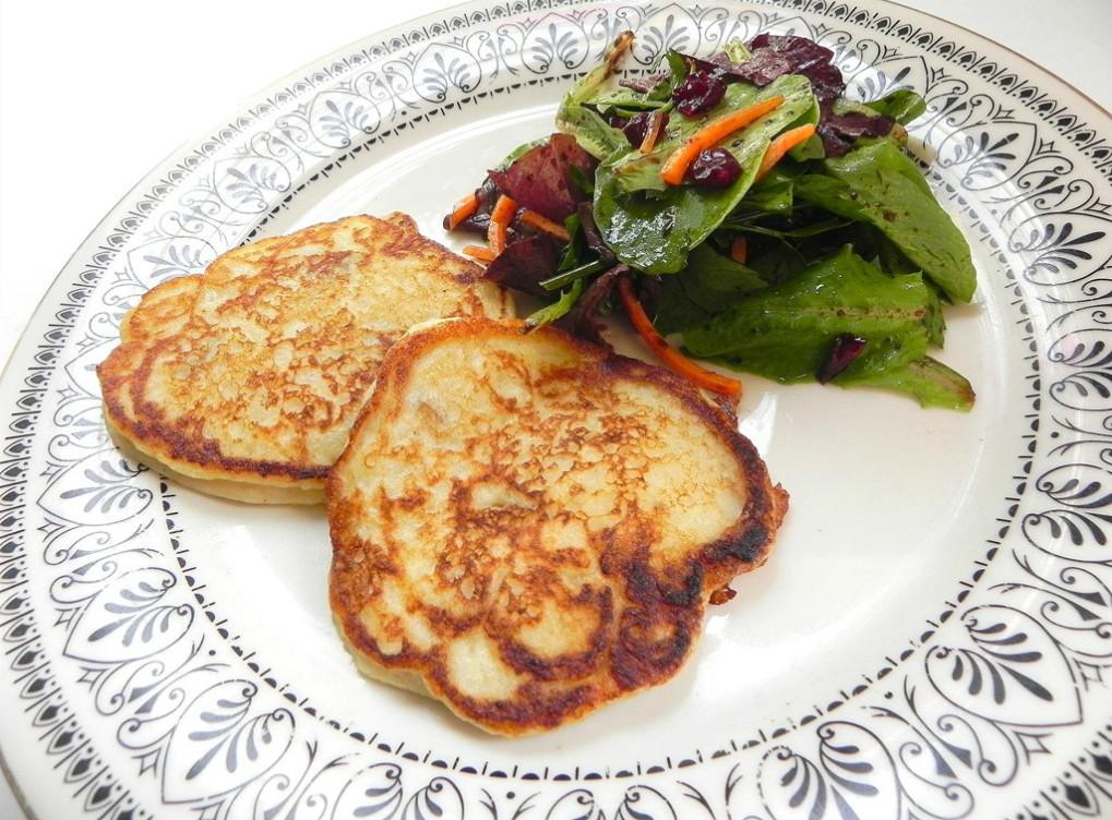 overhead image of matafan fluffy mashed potato pancake