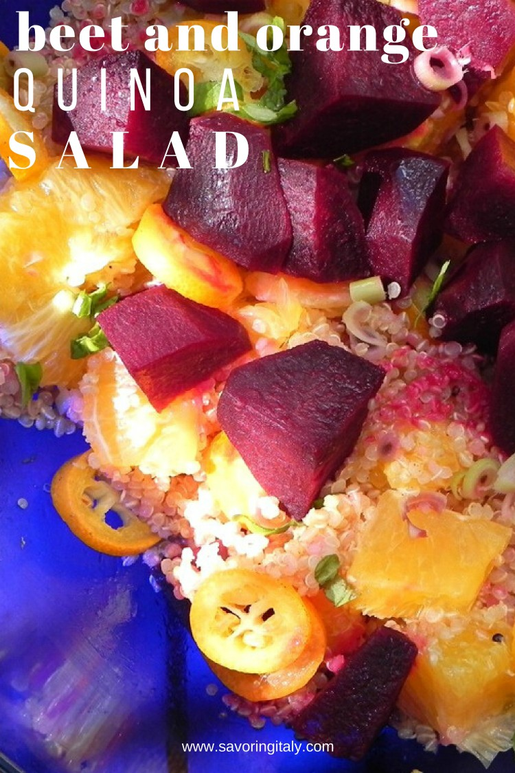 overhead image of beet and citrus salad in blue bowl