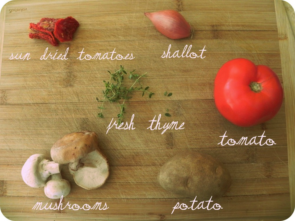 overhead image of making torta salata with mixed vegetables