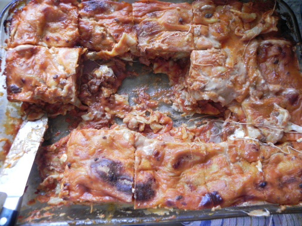 overhead image of lasagna