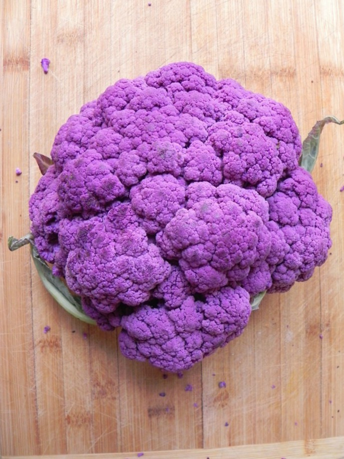overhead image of purple cauliflower