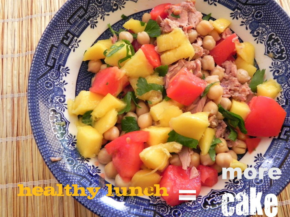 overhead image of a fruit salad with tuna