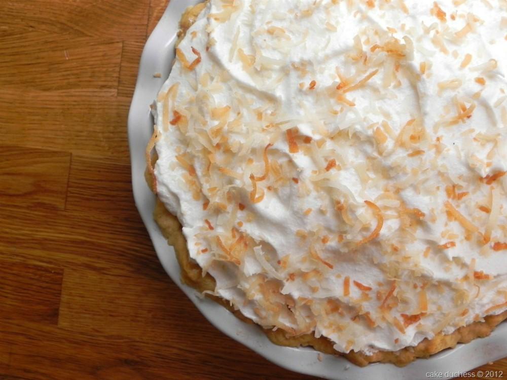 overhead image of coconut cream pie