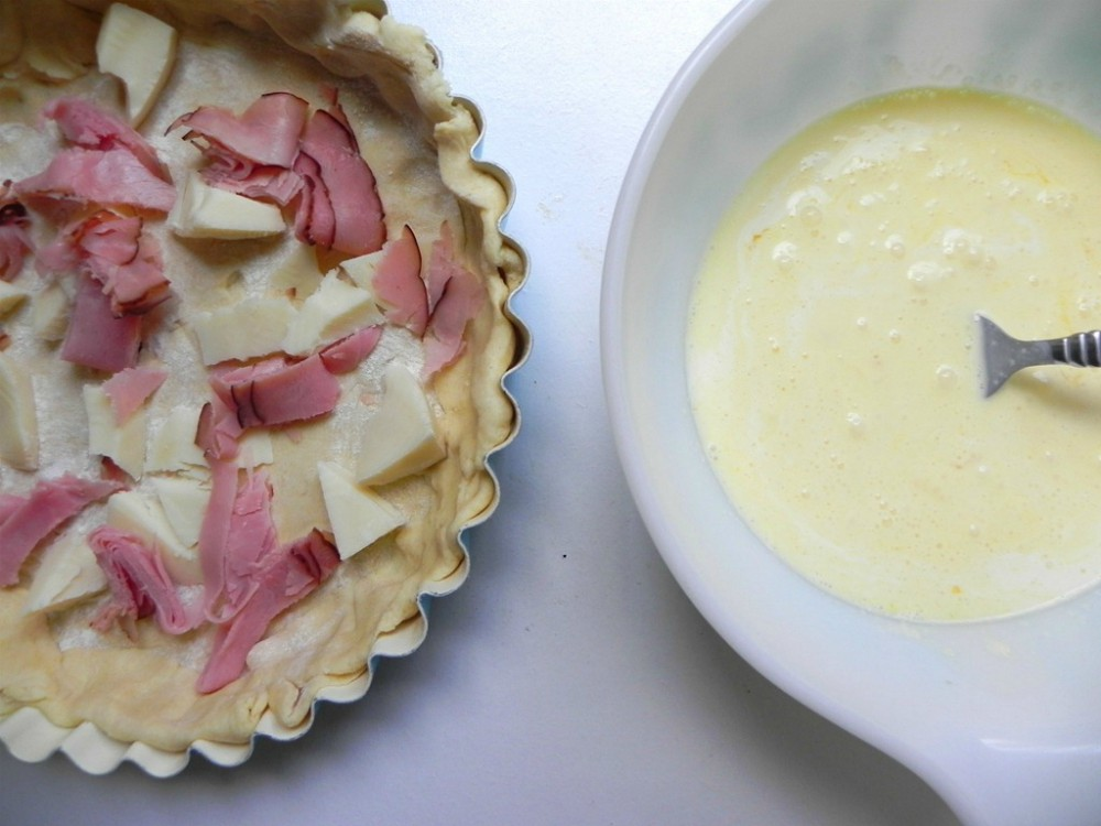 overhead image of making quiche