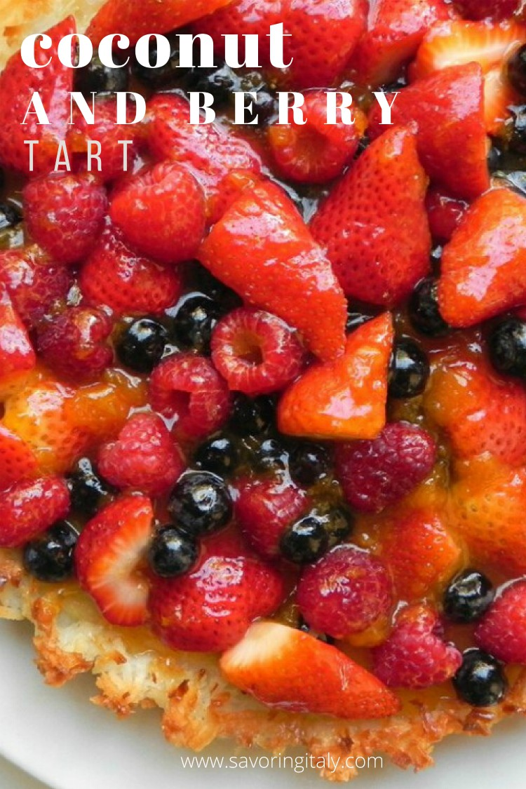 overhead image of coconut and berry tart