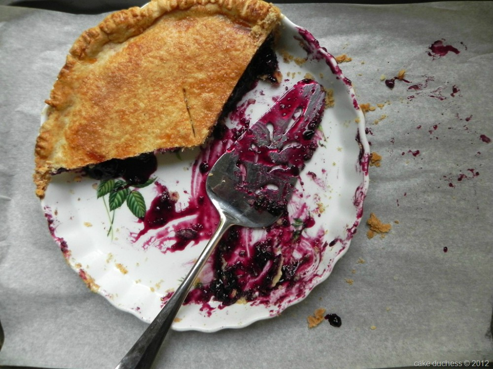 overhead image of blueberry pie on white dish and pie server