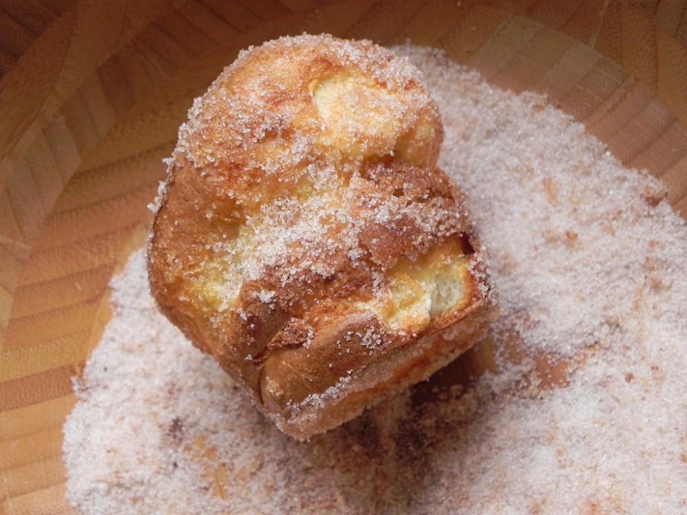 overhead image of making cinnamon sugar popover