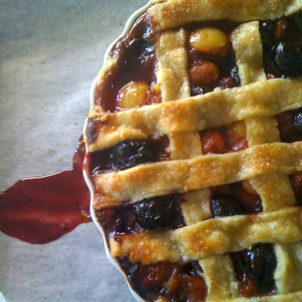 overhead image of fruit filled pie