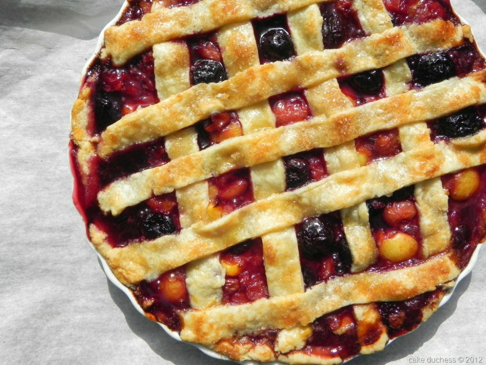 overhead image of lattice crusted fruit pie
