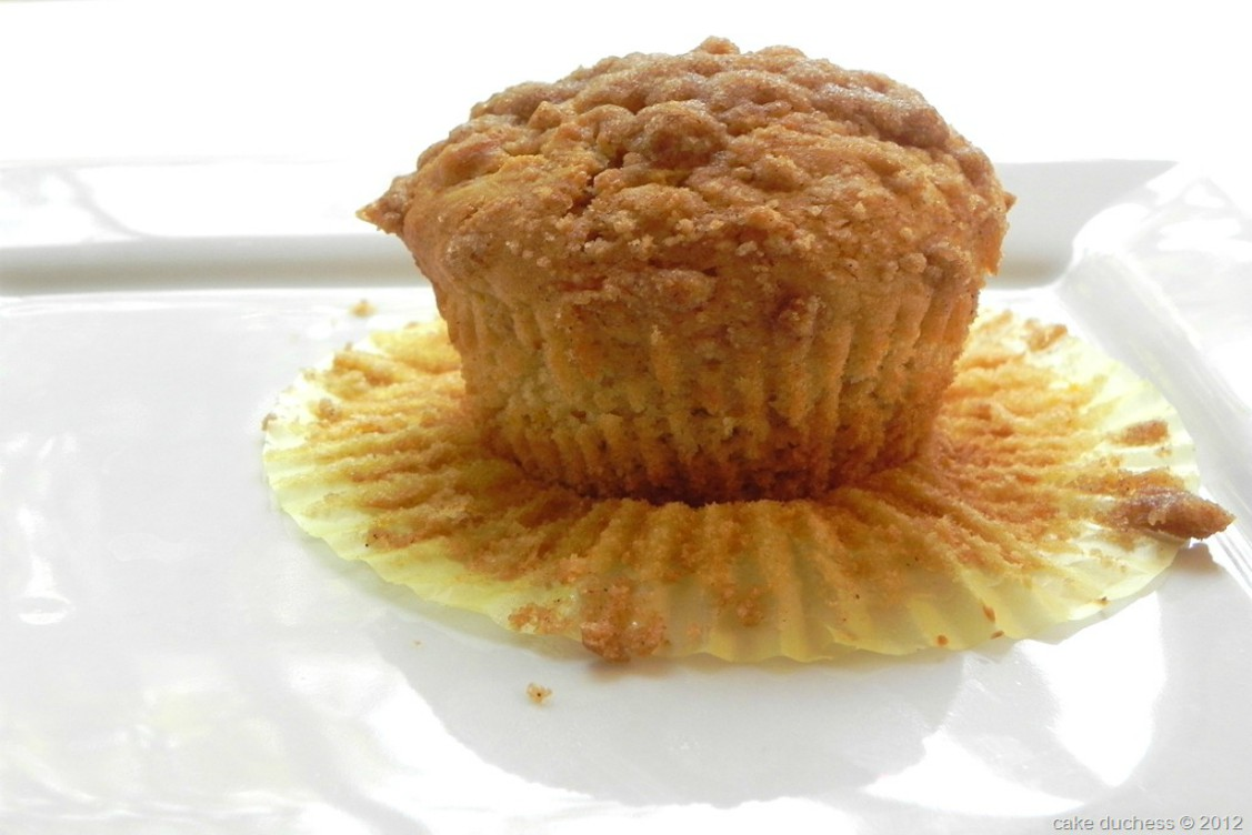 overhead image of muffin on white plate