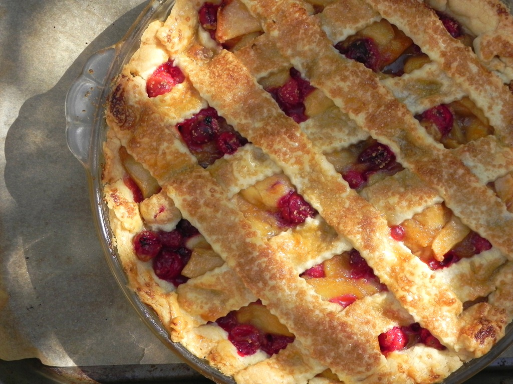 cranberry apple pie with a lattice crust