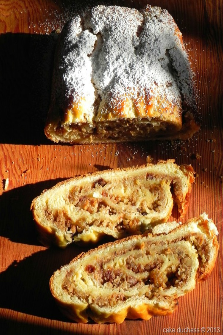 overhead image of kalacs rolled walnut bread