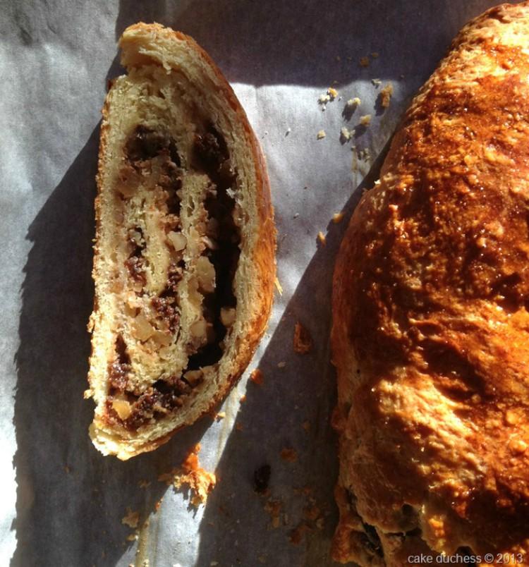 overhead image of rolled walnut bread
