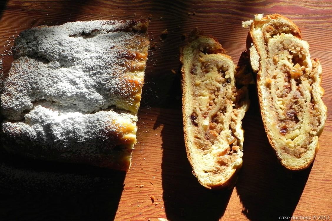 overhead image of nut bread on wood surface