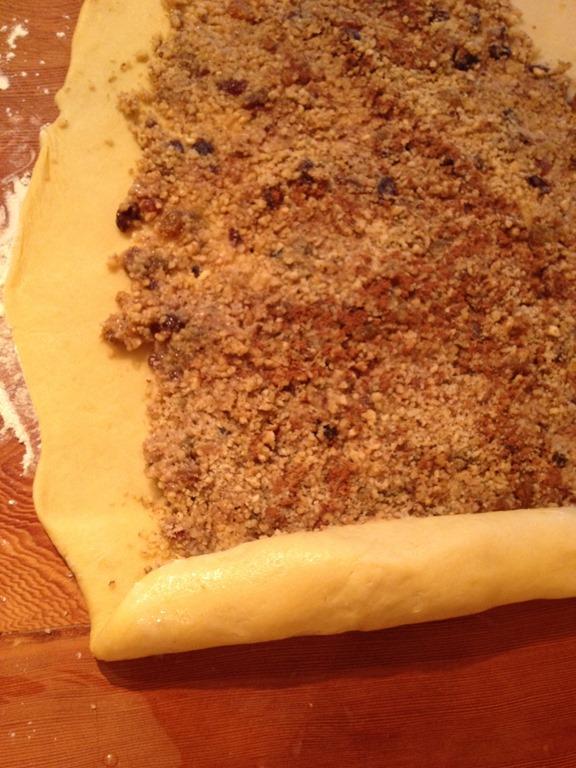 overhead image of walnut bread roll