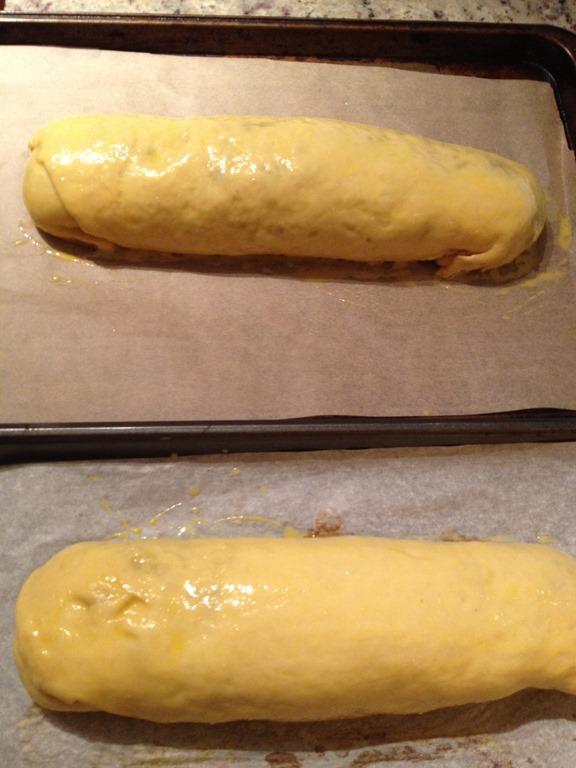 overhead image of bread rolls on baking trays
