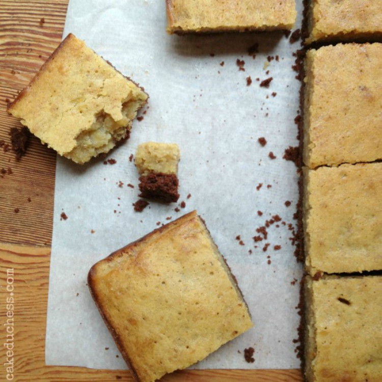 overhead image of chocolate crusted banana blondies