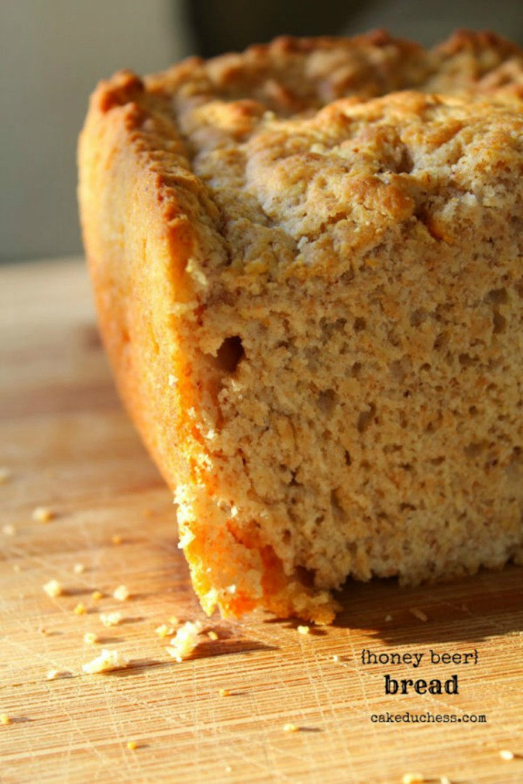 ovverhead image of honey beer bread