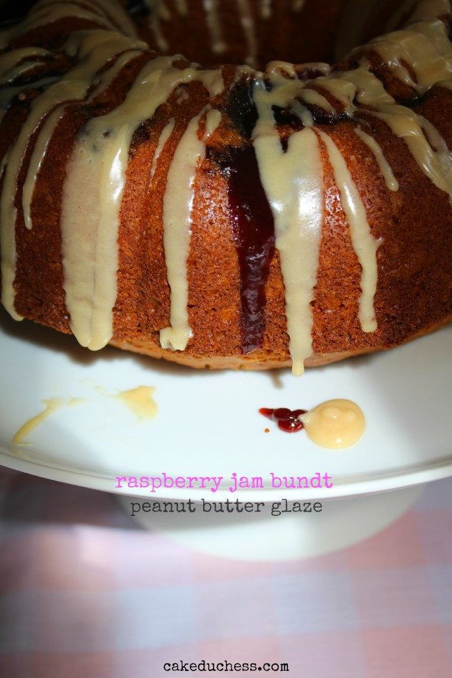 Raspberry Jam Bundt with Peanut Butter Glaze