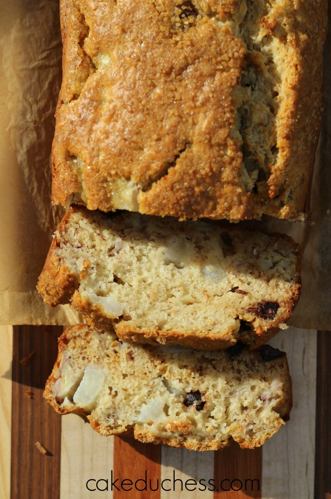 Banana Pear Bread with Dark Chocolate Chips