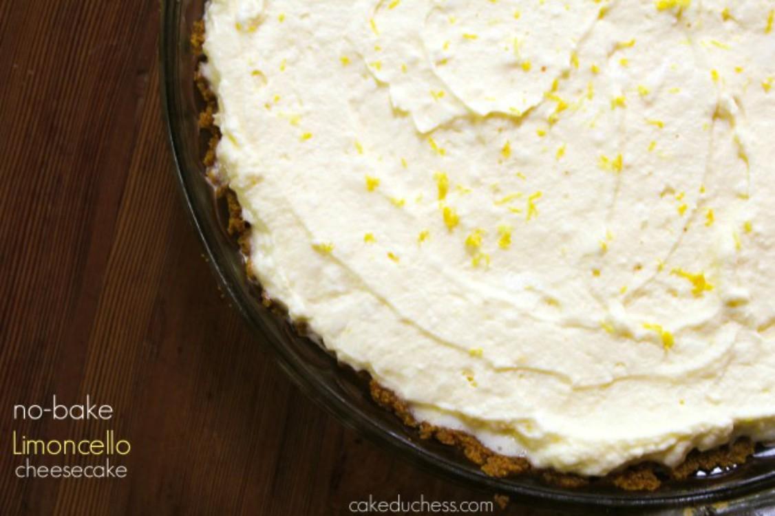 overhead image of no-bake limoncello cheesecake