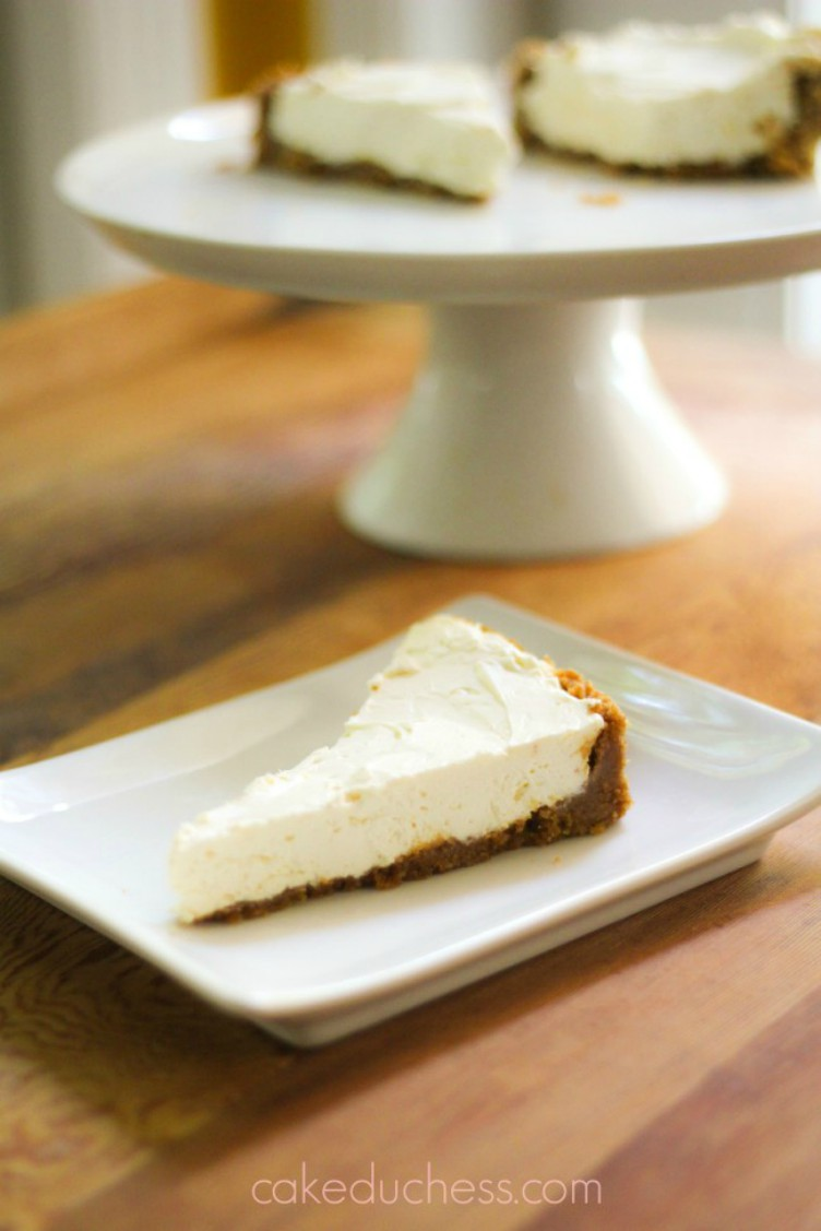 overhead image of cheesecake on white plate