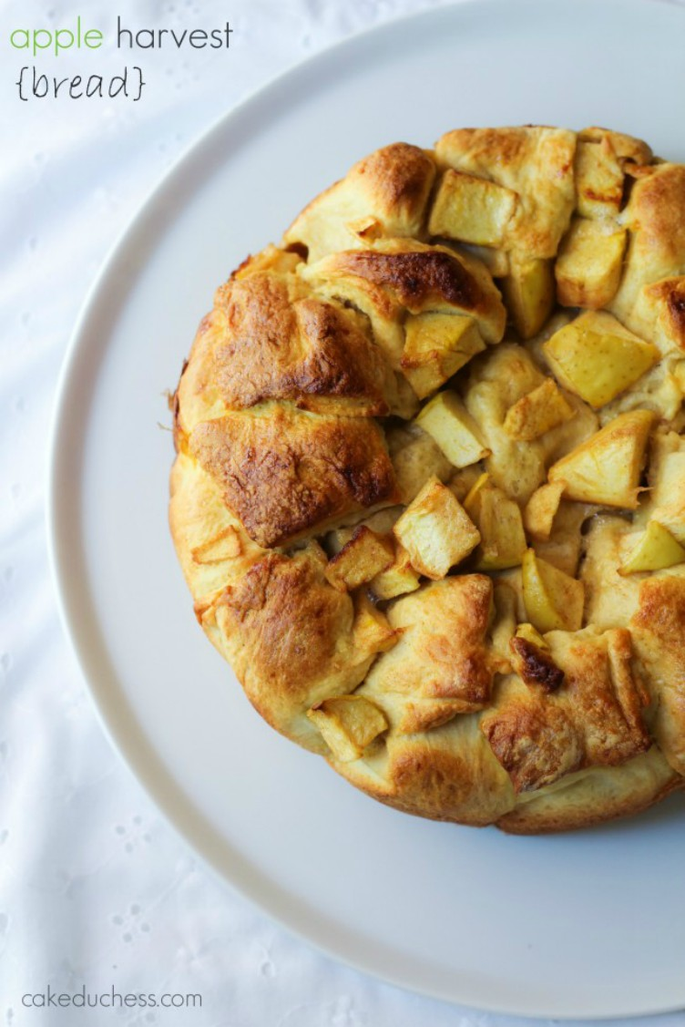 overhead image of apple harvest bread on a white plate