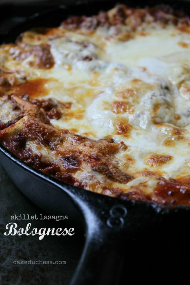 overhead image of skillet lasagna bolognese