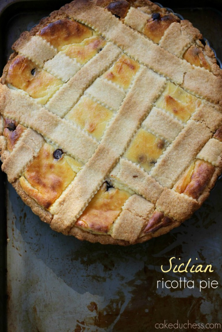 sicilian easter pie on baking tray