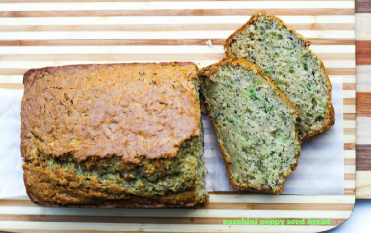 overhead image of zucchini poppy seed quick bread