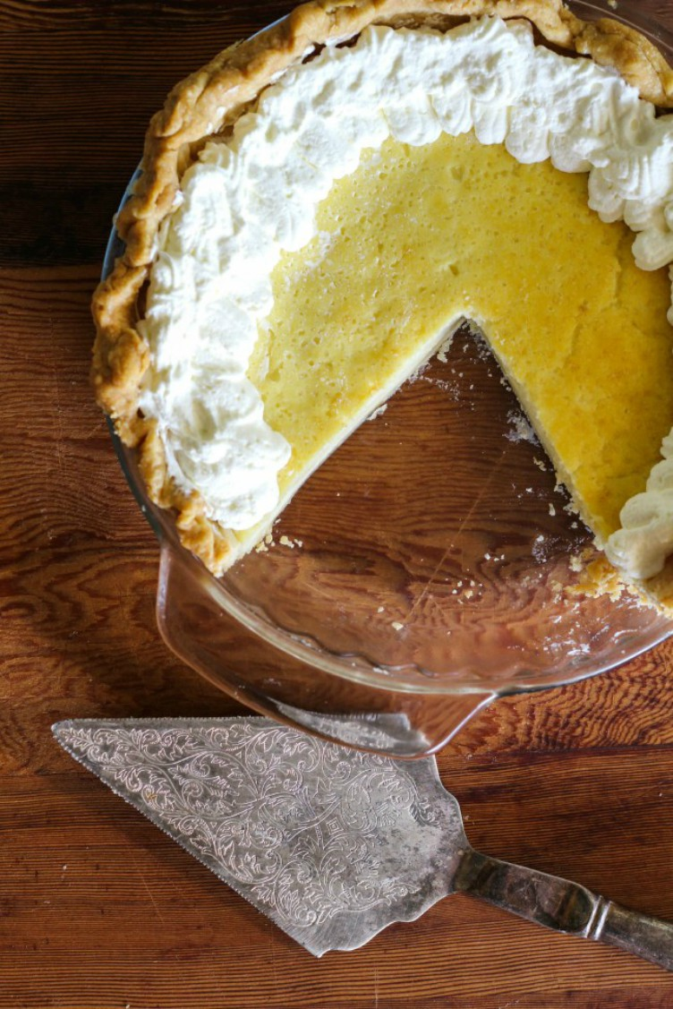overhead image of southern buttermilk pie