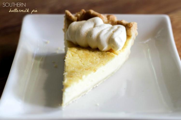 overhead image of buttermilk pie slice