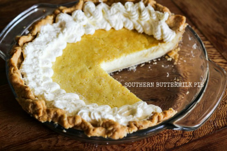 overhead image of buttermilk pie in pie plate