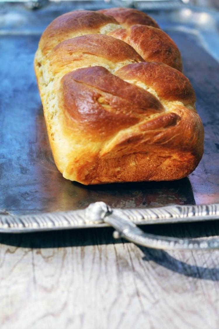 overhead image of crescia al formaggio Italian Easter cheese bread