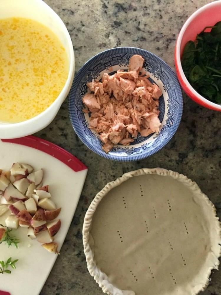 image of ingredients to make salmon tart