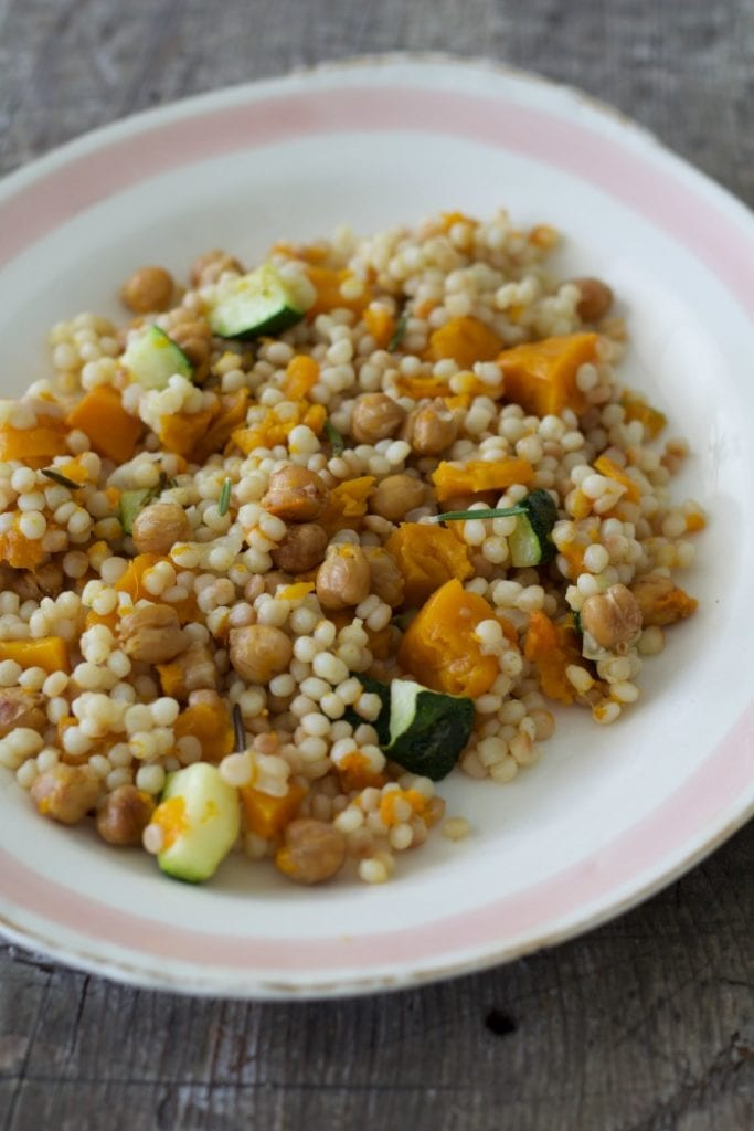 Israeli Couscous with Roasted Butternut Squash and Chickpeas