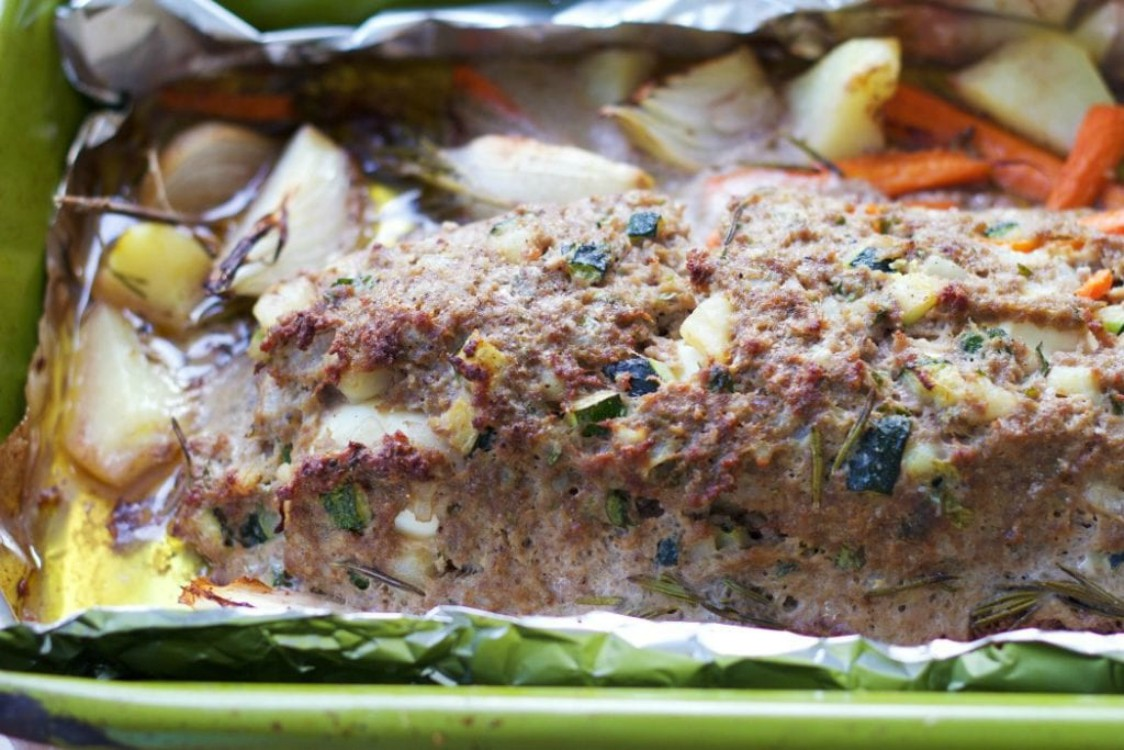 ground beef meatloaf in baking dish