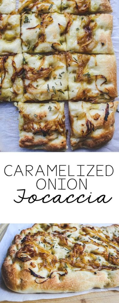 A simple to make homemade focaccia recipe that is vegan. The caramelized onion and focaccia topping make this bread beyond delicious. #bread #italianrecipe #focaccia #caramelizedonions #vegan