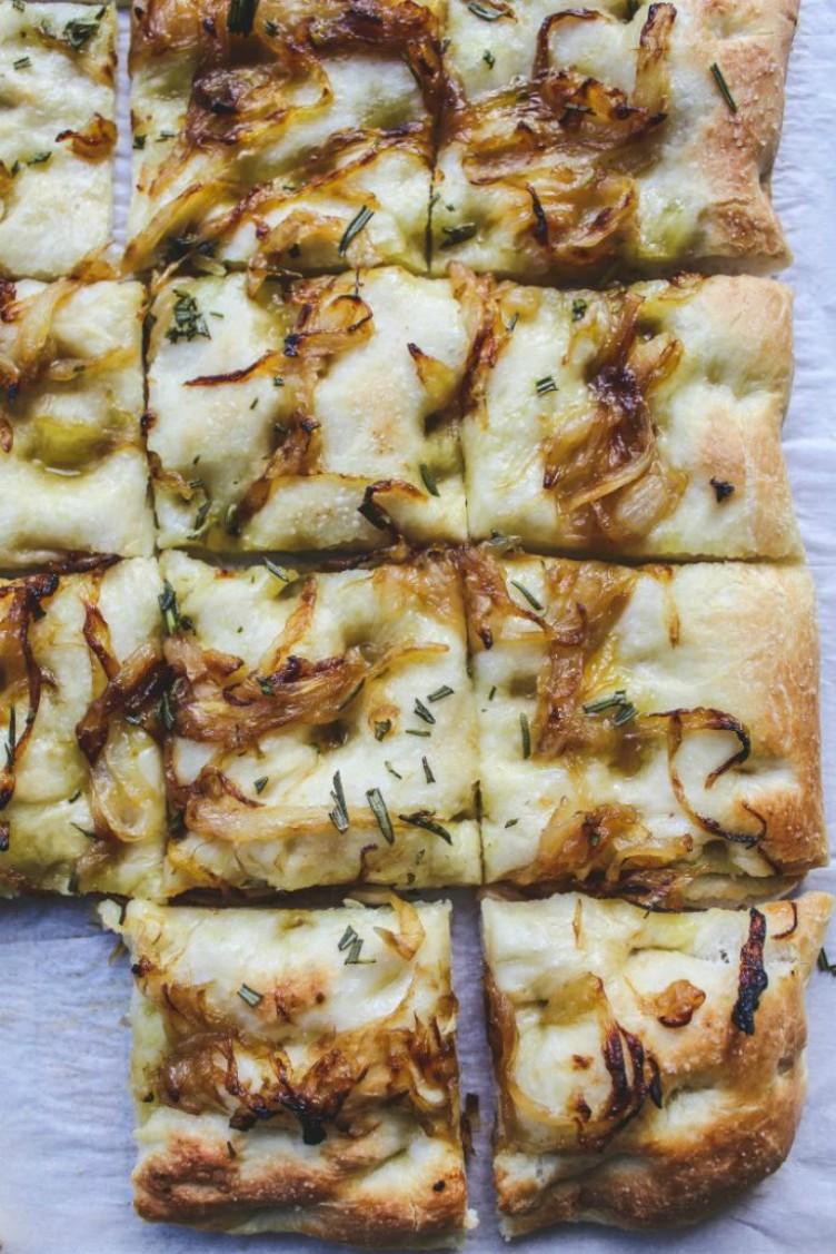 overhead image of caramelized onion focaccia
